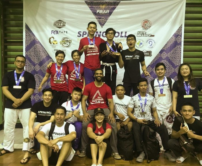 Gracie Barra Singapore's Edd, Alison and Wanjia at the Springroll BJJ Open 2018 in Jakarta